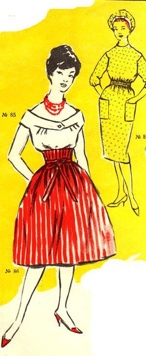 Блузка с мягкими складочками и юбка с завышенным корсажем, халат для уборки дома, фартук на бретелях, мода 1960 год