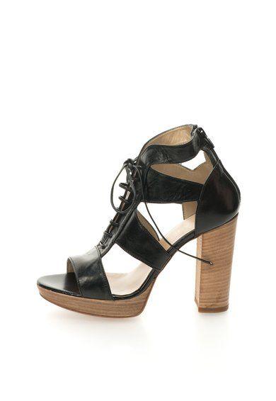 Zee Lane Sandale negre de piele cu platforma Costes Femei image_1