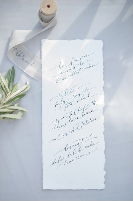 Effortlessly flawless calligraphy for wedding menu. Stationery: Ezer Calligraphy ---> http://www.weddingchicks.com/2014/05/09/magical-winter-wedding-ideas/