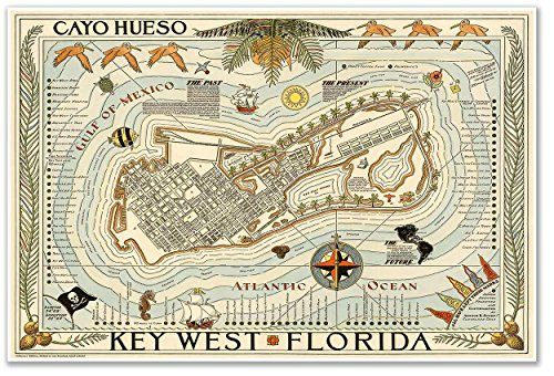 Cayo Hueso Map of KEY WEST Florida circa 1940  measures 24 high x 36 wide 610mm high x 915mm wide >>> You can get more details by clicking on the image.Note:It is affiliate link to Amazon.