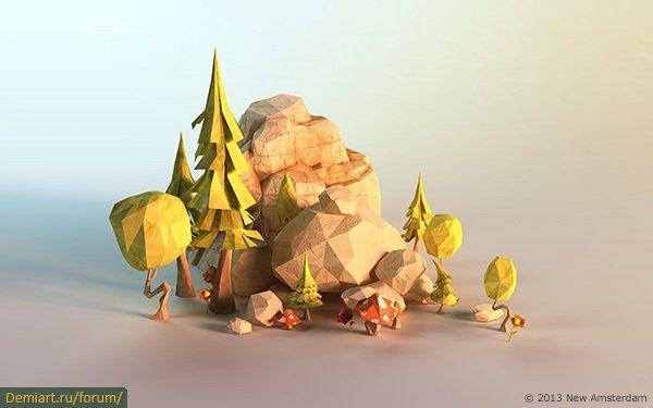 3D–чудо: низкополигональный бумажный мир