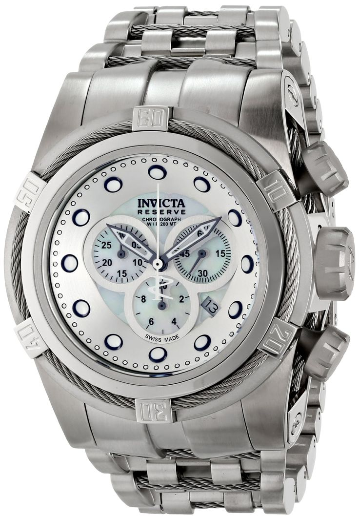 Invicta Men's 12729 Bolt Analog Display Swiss Quartz Silver Watch. Swiss Quartz movement. Flame fusion crystal; Stainless steel case and bracelet with stainless steel twisted wire inserts. Chronograph functions with 60 second, 30 minute and 1/10th of a second subdials; Date window between 4:00 and 5:00. White mother of pearl dial with gunmetal and white hands and hour markers; Luminous; Stainless steel bezel with stainless steel twisted wire insert; Screw-down crown. Water resistant to…