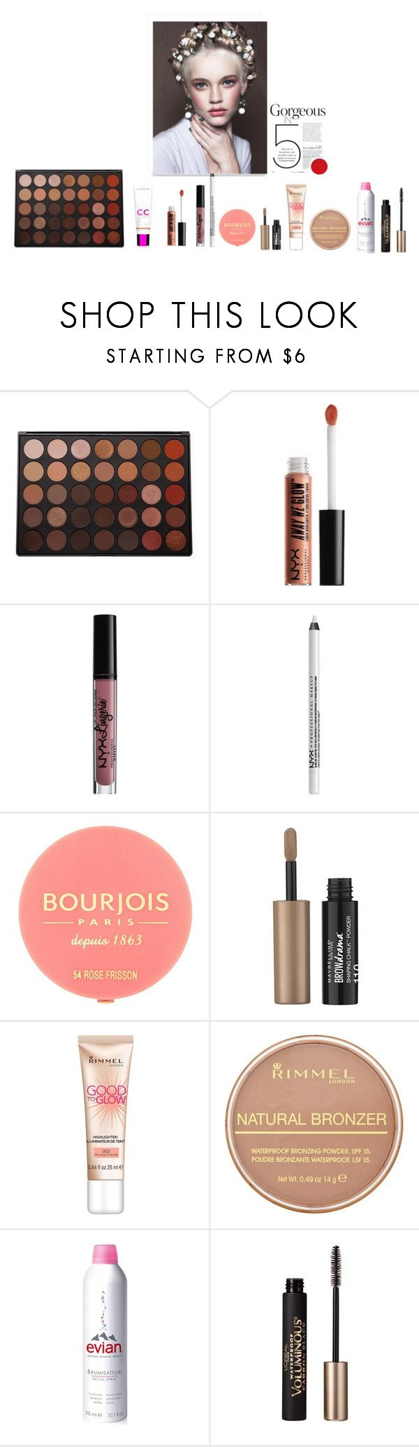 """Ready in 5: summer makeup"" by olesyabond on Polyvore featuring beauty, Morphe, NYX, Bourjois, Maybelline, Rimmel, Evian and L'Oréal Paris"