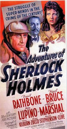 The Adventures of Sherlock Holmes (released theatrically as Sherlock Holmes in the United Kingdom) is a 1939 mystery-adventure film. It is a pastiche featuring the characters of the Sherlock Holmes series of books written by Sir Arthur Conan Doyle. The film is an adaptation of the 1899 play Sherlock Holmes by William Gillette, though there is almost no resemblance in the plots.