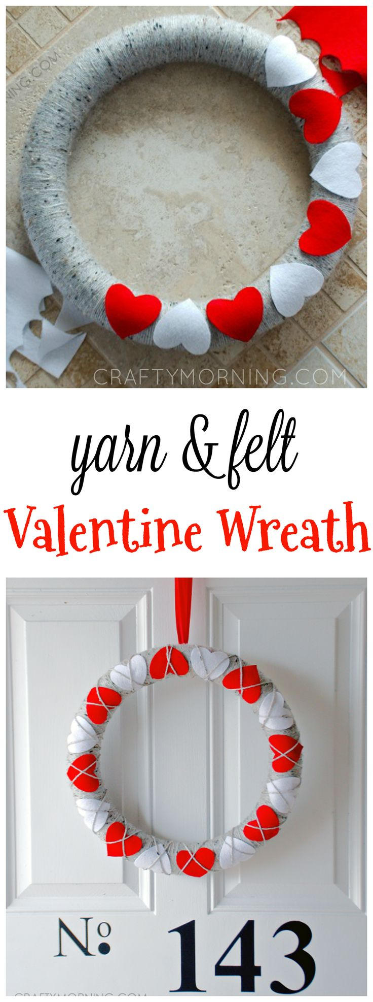 Cutest yarn and felt Valentine's day wreath craft to make! It's so easy even the kids could help! Perfect door hanger decoration.
