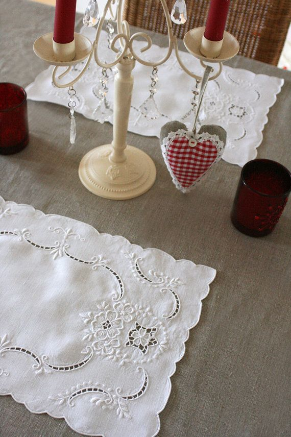 6 French Vintage Table Mats with Embroidery and Cut-work - Great for Christmas. €12.00, via Etsy.