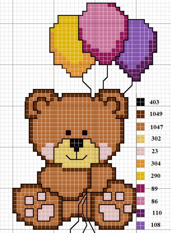 ponto cruz ursinho com balão - Pesquisa Google