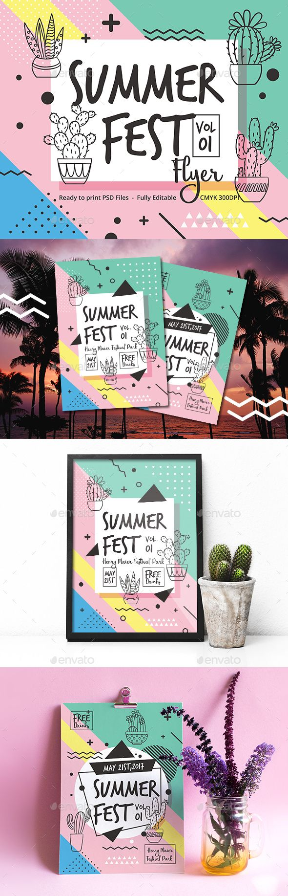 Summer Fest Flyer — Photoshop PSD #flyer #print • Download ➝ https://graphicriver.net/item/summer-fest-flyer/19818228?ref=pxcr