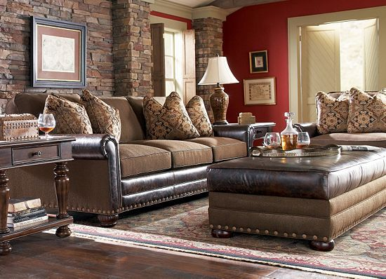 Really Like The Nailhead Trim And Warmth Of Sofa Landon Living Room Collection Shows How West Was Won Leather Fabric Pieces Are Adorned