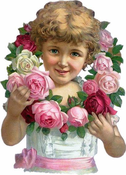 Glanzbilder - Victorian Die Cut - Victorian Scrap - Tube Victorienne - Glansbilleder - Plaatjes : Kinder mit Blumen - Children with flowers - Enfants avec des fleurs