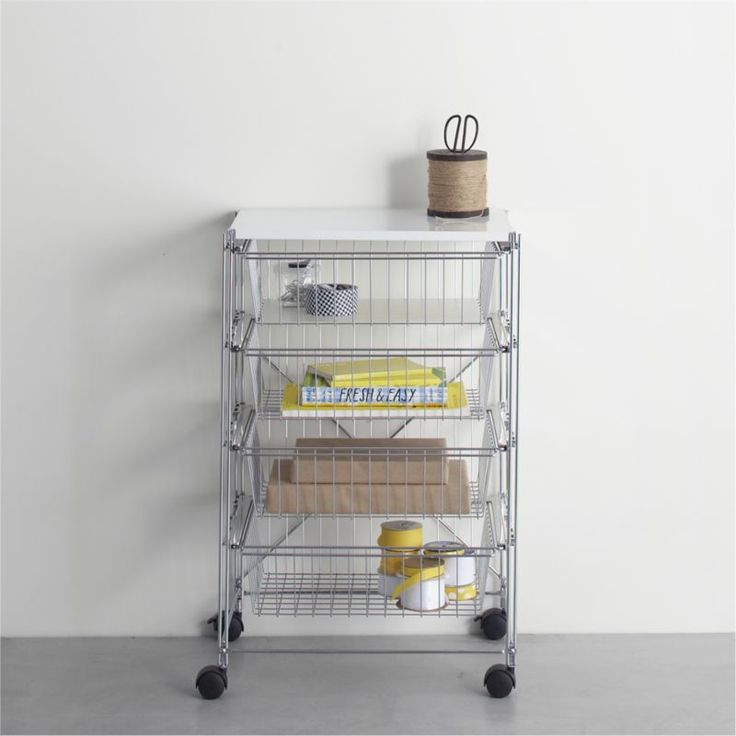 MAX Chrome Four-Drawer Cart with White Top  | Crate and Barrel