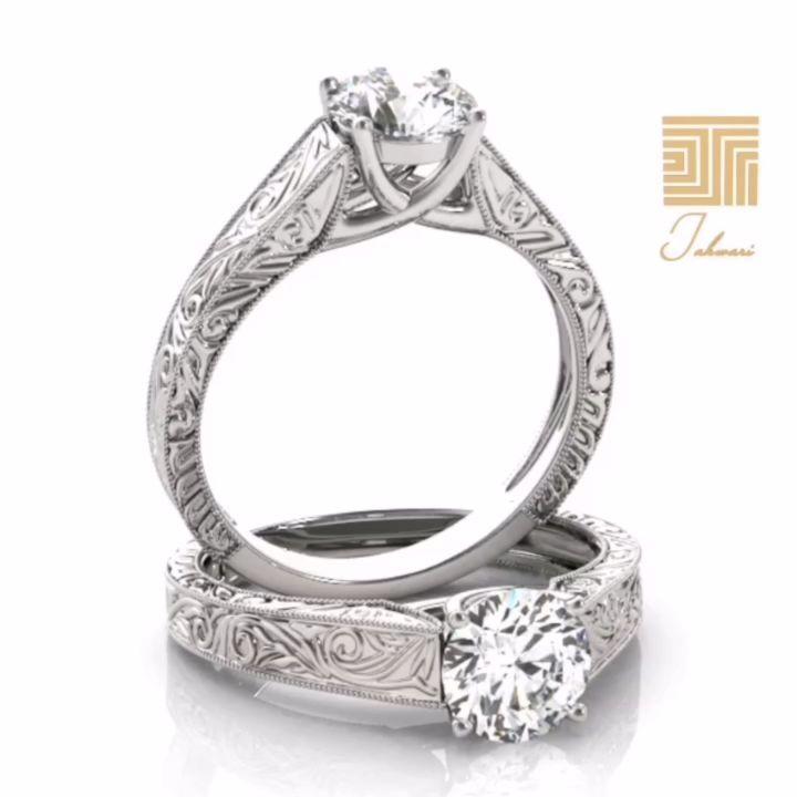 خاتم إنجريف الماس سوليتير خاتم إنجريف يحتوي على ماسة دائرية تجلس بفخامة على خاتم بتصميم م Custom Moissanite Engagement Ring Engagement Rings Rings For Men