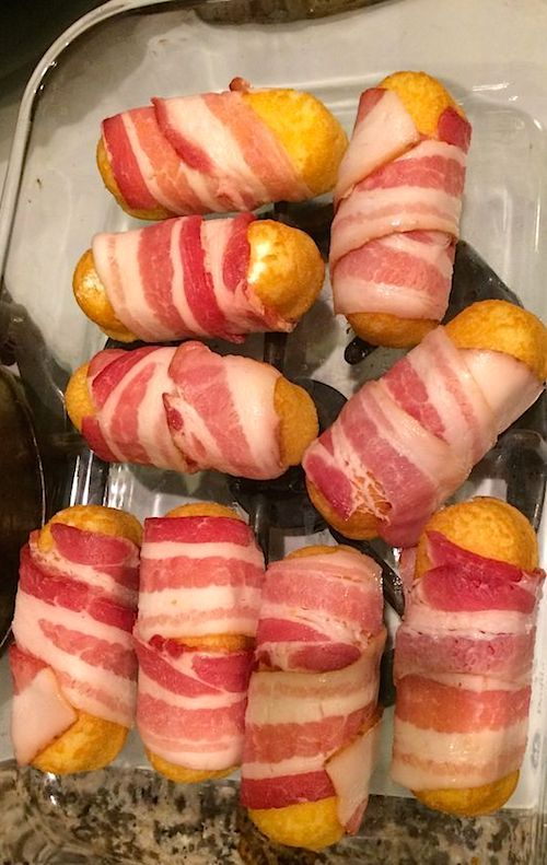 Deep Fried Bacon Wrapped Twinkies/I AM NOW CONVINCED THAT THEY WILL WRAP ANYTHING IN BACON & DEEP FRY IT AND PEOPLE WILL GO WILD!