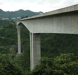 Liuguanghe Bridge is a 305[1] metre high beam bridge at Liu Guangzhen, Guizhou, China. It held the record for world's highest bridge between 2001 and 2003, surpassing the 72-year old 291 m (955 ft) high Royal Gorge Bridge, until the opening of the 366 m (1,201 ft) Beipanjiang River 2003 Bridge.