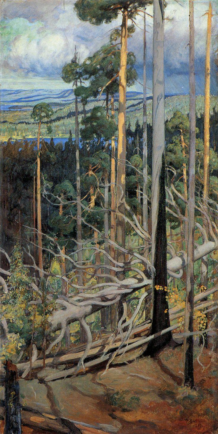 Pekka Halonen (Finl. 1865-1933), Terre sauvage de Carélie (détail), 1899, huile sur toile