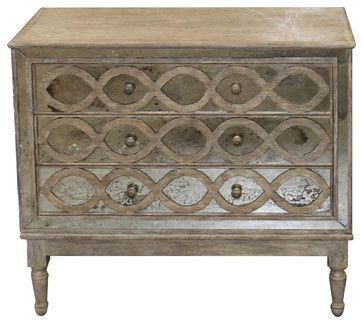 Ogee French Country Distressed Antique Mirror Dresser Chest - traditional - dressers chests and bedroom armoires - Kathy Kuo Home