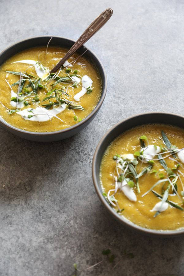Golden Beet Soup Recipe with Tarragon Yogurt | Easy, Healthy, Gluten-Free, Vegetarian, #Whole30 Friendly