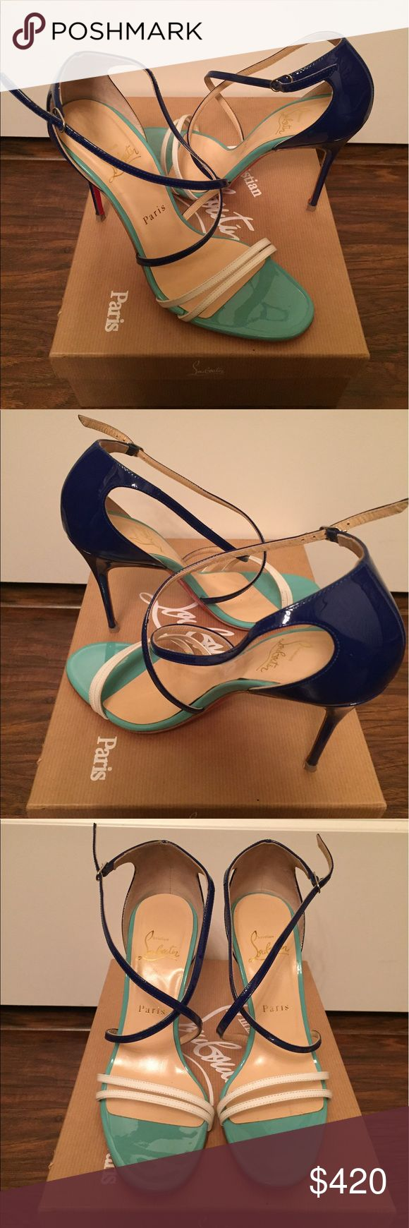 Christian Louboutin Multicolor Sandals Gwynitta 100mm heel blue/white/turquoise Sandals; made in Italy; size 38EU. Gently worn last summer, and well taken care of. Perfect fit for US size 7-7.5. Original dust bag. Christian Louboutin Shoes Sandals