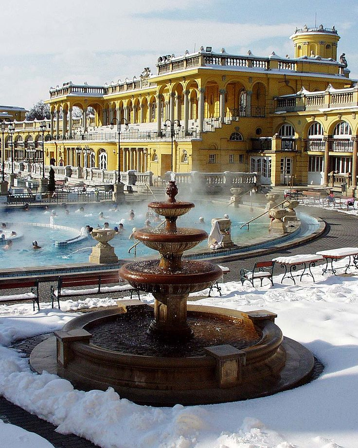 Turkish baths, like the Szechenyi Bath and Spa, Budapest is a must! Open from 6am-10pm. Best to visit in the Autumn or winter when you can have a nice soak in the hot thermal pool whilst it's snowing outside! Web: http://www.szechenyibath.com/ #Budapest #Bath #Spa