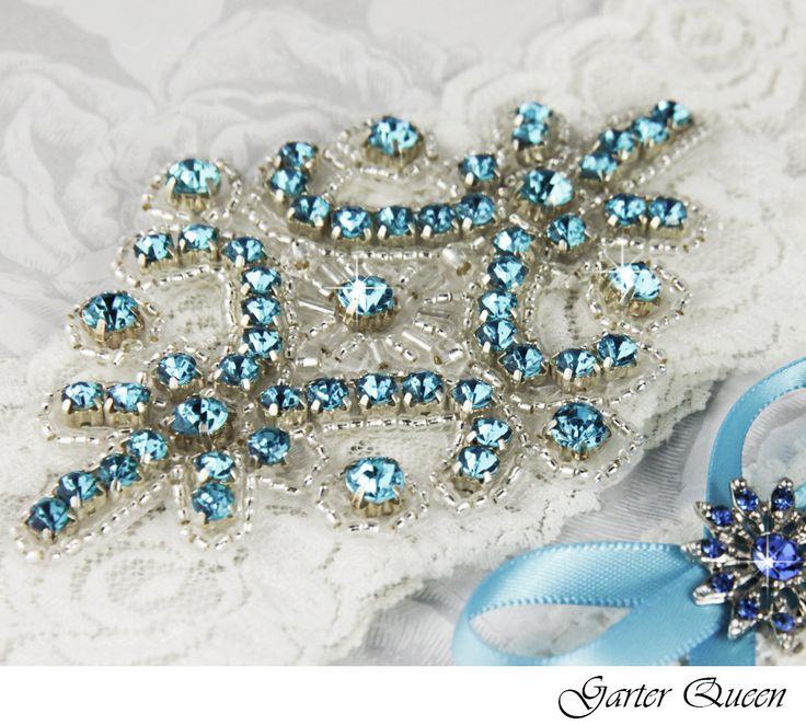 Bridal Garter Wedding Set LIGHT IVORY Stretch Lace Keepsake And Toss Garters Rhinestone Crystal