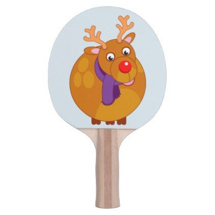 Fun modern cartoon of Santa's reindeer Rudolph Ping Pong Paddle - red gifts color style cyo diy personalize unique