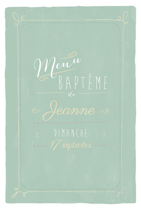 Menu de baptême Happy day by Le Collectif pour www.fairepartnaissance.fr #rosemood #atelierrosemood