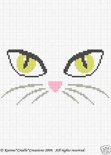 Crochet Patterns Cats Eyes Face Color Graph Pattern | eBay