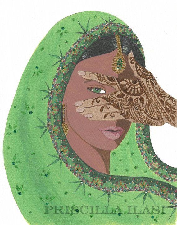 Henna Mehndi Green St : Mehndi art card indian print green hand embellished