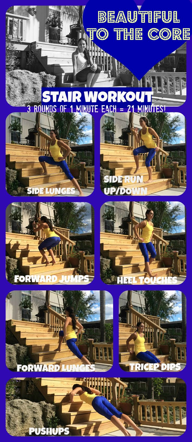Got some stairs? Then you are all set for a great 21min workout!  Follow this Stairs workout with Beautiful to the Core. Follow the link for more free workouts and health tips!