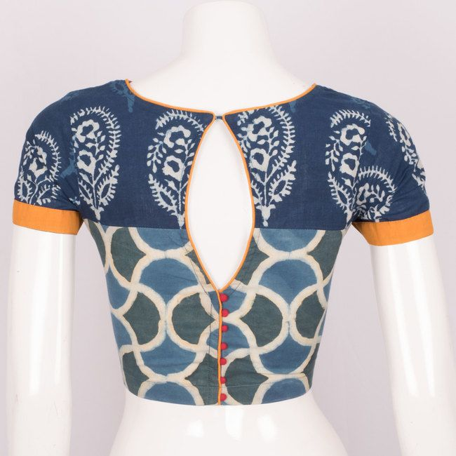 Hand Crafted Kalamkari Blue & Green Cotton Blouse With Tear drop Back 10013554 - Size 40 - back - AVISHYA.COM