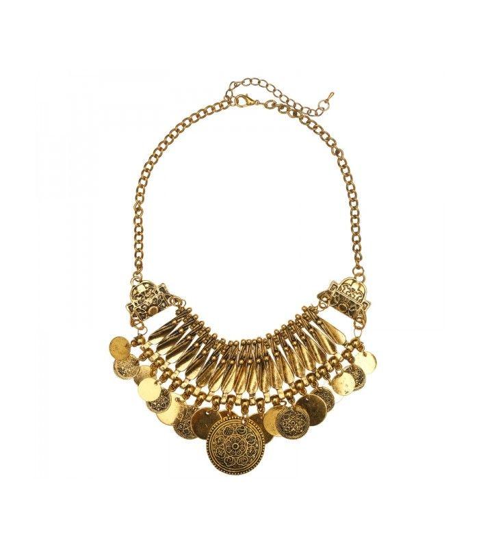 Goudkleurige korte halsketting met ronde bedels