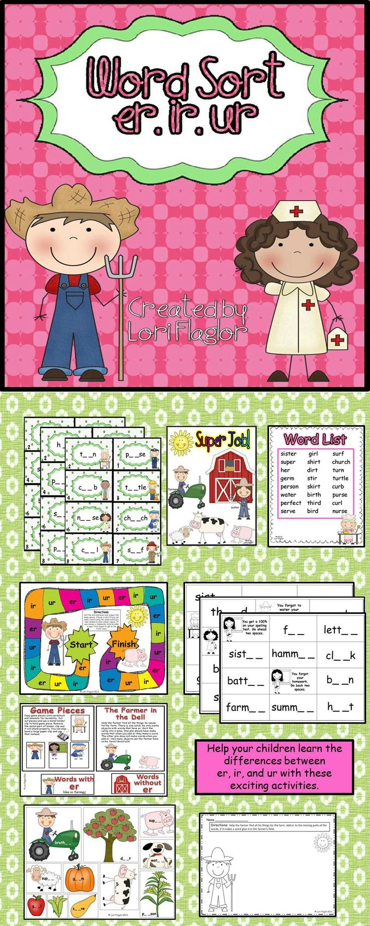 Workbooks words with er ir ur worksheets : 89 best READ~R CONTROLED images on Pinterest | Word games, Word ...