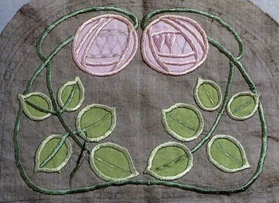 Jessie Newberry (1864-1948) - Embroidered Table Scarf Detail. Embroidered & Appliqued Linen. Circa 1900.