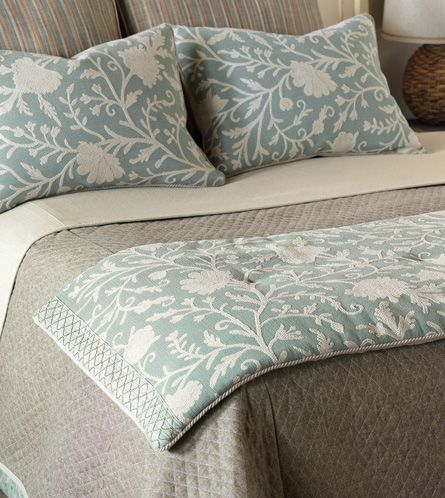 love the idea of a bed scarf!! Pretty without being heavy or hot. Avila Bed Scarf from Eastern Accents