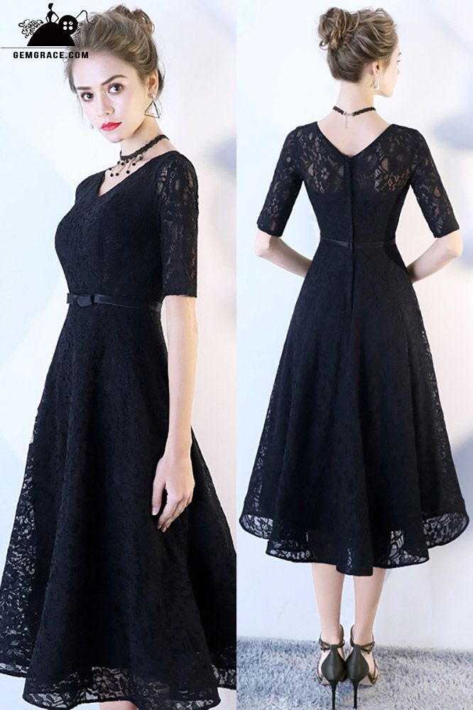 Only $84.8, Homecoming Dresses Black Full Lace Tea Length Party Dress with Sleev…