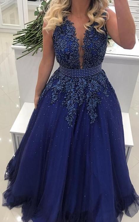 Linha A Até O Chão Vestido de Baile com Apliques e Pérolas Vestidos Semi Formais Vestido de Festa de Casamento  – Graduate Dress
