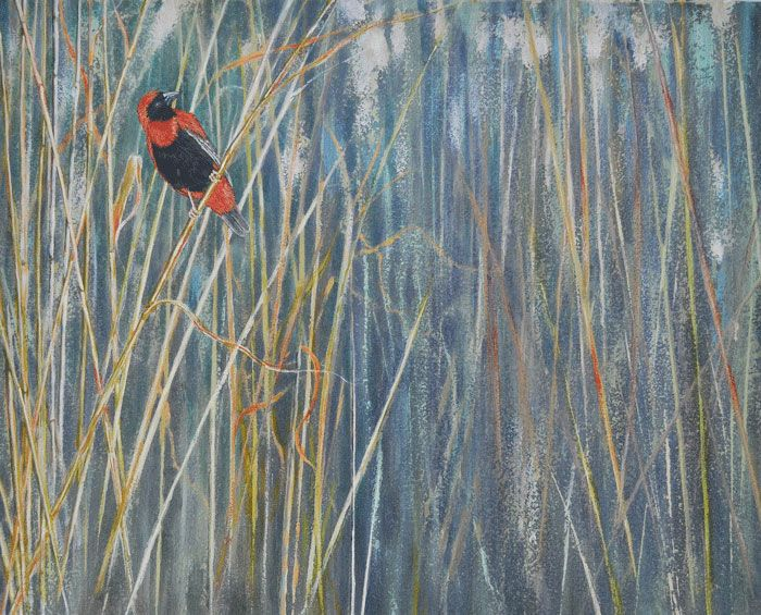 Reed Cathedral  (oil on canvas, 500X400mmX22mm)  by Lisl Barry   www.lislbarry.co.za  Little Karoo wildlife