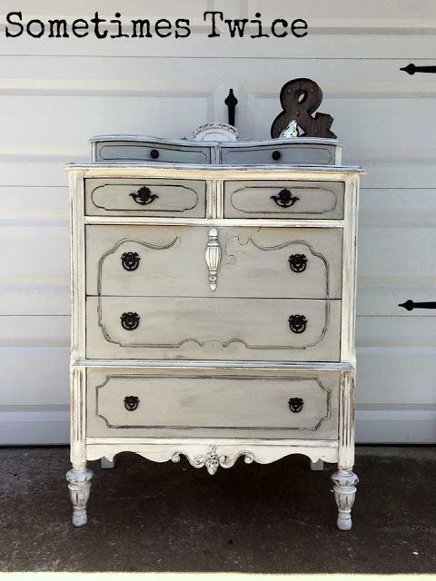 Sometimes Twice...: Grey and White Antique Dresser