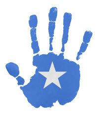 Handprints with Somalia flag illustration