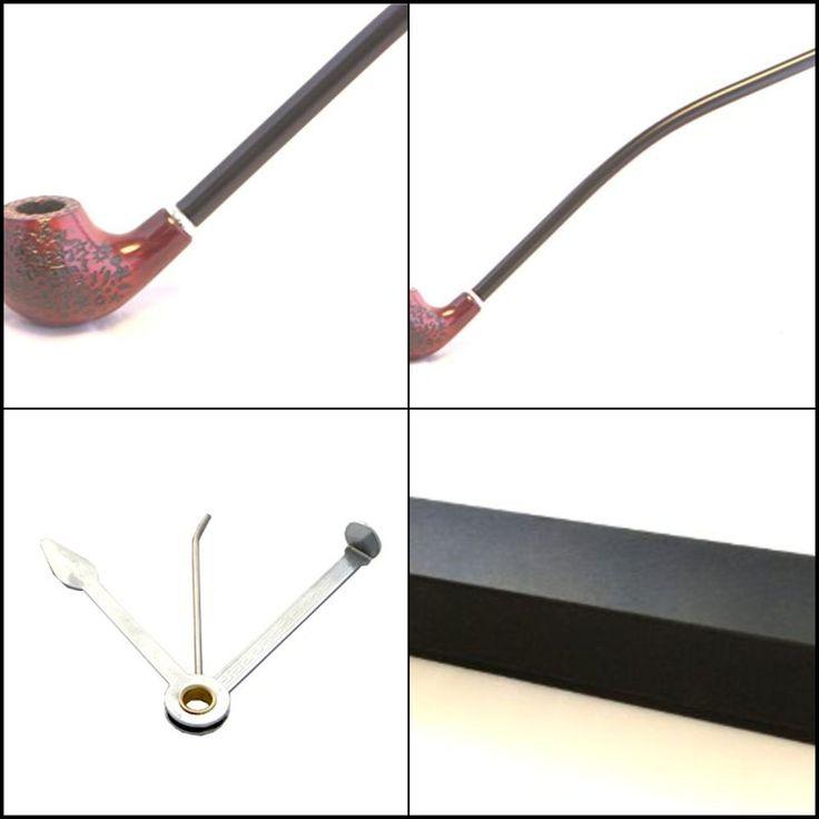 Churchwarden long Pipe Pear Wood Churchwarden Tobacco Pipe w/Cleaning Tool Kit #GStar
