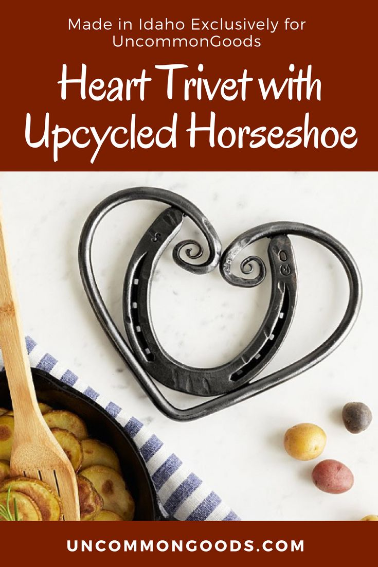 This rustic trivet features an upcycled horseshoe embraced by a swirling heart of hand-hammered steel. A horseshoe is both an iconic good luck symbol, and a reminder of a simpler, traditional way of life. This horseshoe is embraced by a band of metal that reaches up to form a heart with a curlicue flourish. Perfect for Rustic or Farmhouse Decor. #Handmade #Trivet #Horseshoe #Ad #RusticDecor #FarmhouseDecor #GoodLuck #MadeInIdaho #Idaho