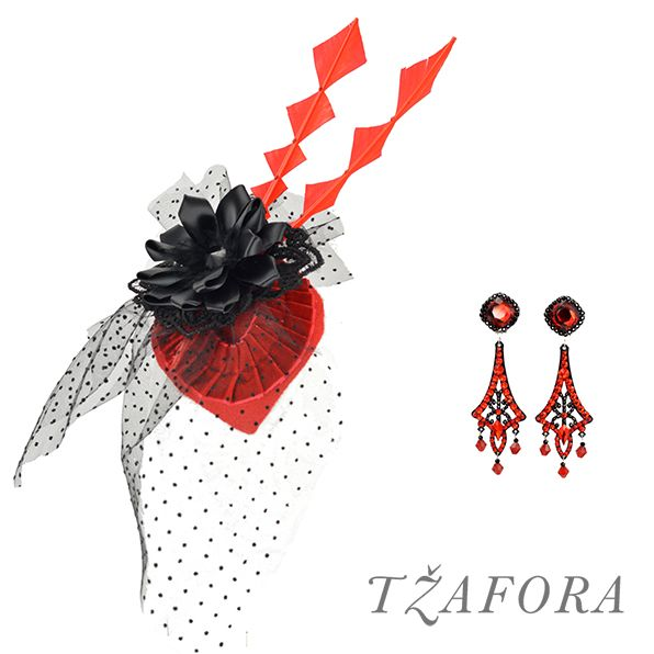 Special custom set, fascinator and chandelier earrings  - Swarovski ballroom earrings. Ballroom dance jewelry, ballroom dance dancesport accessories. www.tzafora.com Copyright ©️️️️️️️ 2017 Tzafora.