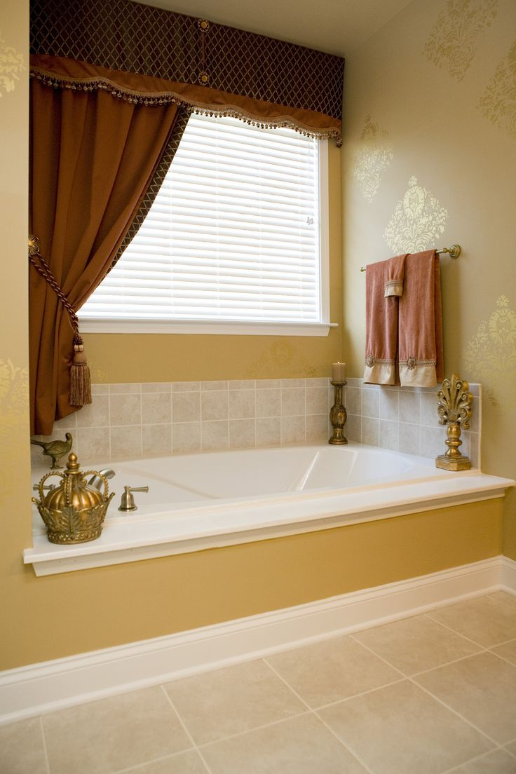 Bathroom valance ideas - Very Narrow Almost Flat Cornice Valance Single Drapery Panel Tied Back