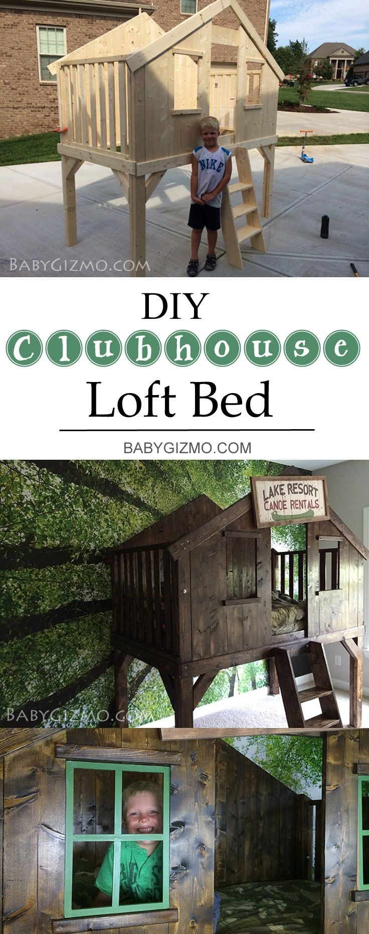 Turn your child's room from blah to amazing with this DIY Clubhouse Bed! Why pay Pottery Barn Kids prices when you can make it yourself! We show you how!! #diy #homedecor #bedroom #ideas