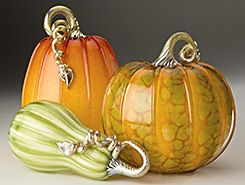 Glass Pumpkins  Squash - Forest Mottled Collection by Cohn-Stone Studios