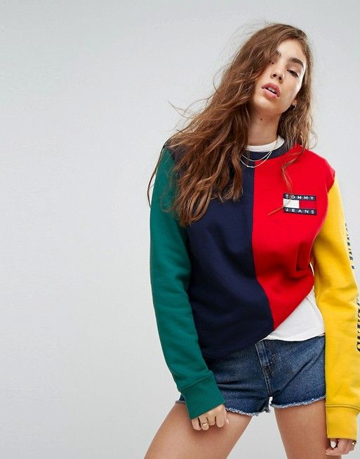f396e1f2 Tommy Jeans 90s Capsule Color Block Sweatshirt | Style | Tommy jeans ...