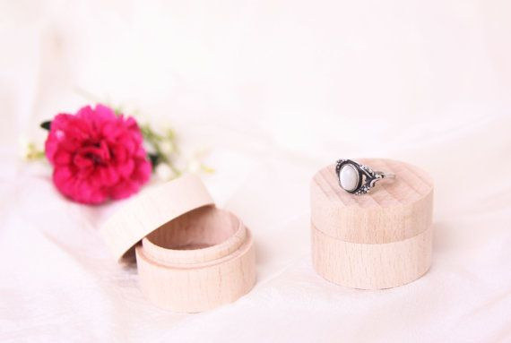 wooden ring box, wedding proposal engagement gift unfinished ring bearer jewelry round storage, shabby rustic photo props ideas inspiration