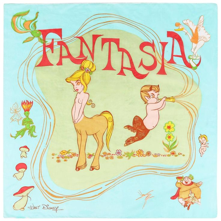 "WALT DISNEY c.1940 ""Fantasia"" Topless Centaur Character Print Silk Chiffon Scarf 