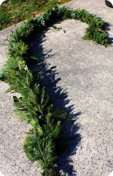 Step-by-step. How to make fresh evergreen garland.