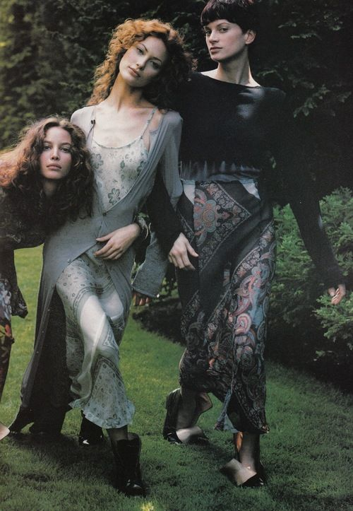 """""""Independent's Day"""": Christy Turlington, Shalom Harlow, and Kristen McMenamy photographed by Steven Meisel for Vogue, September 1993"""
